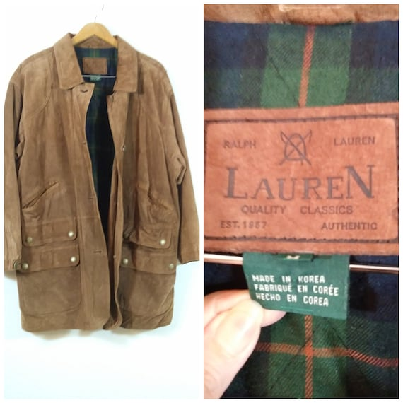 80s Ralph Lauren leather jacket / vintage fisherma