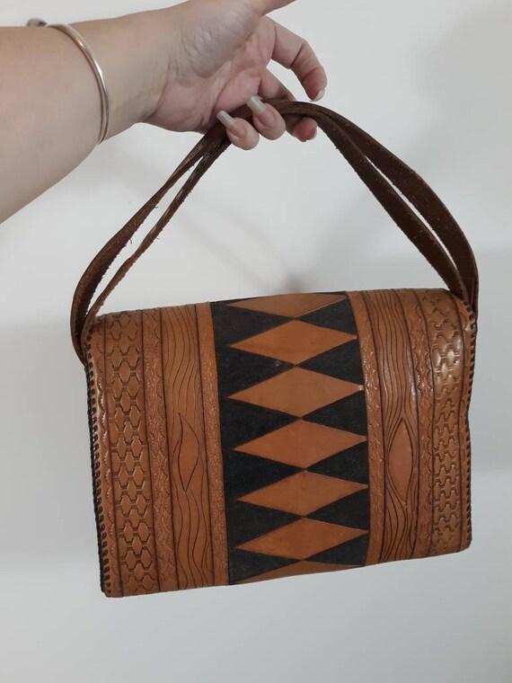 Vintage 60s 70s tooled leather purse / Vintage 70… - image 7