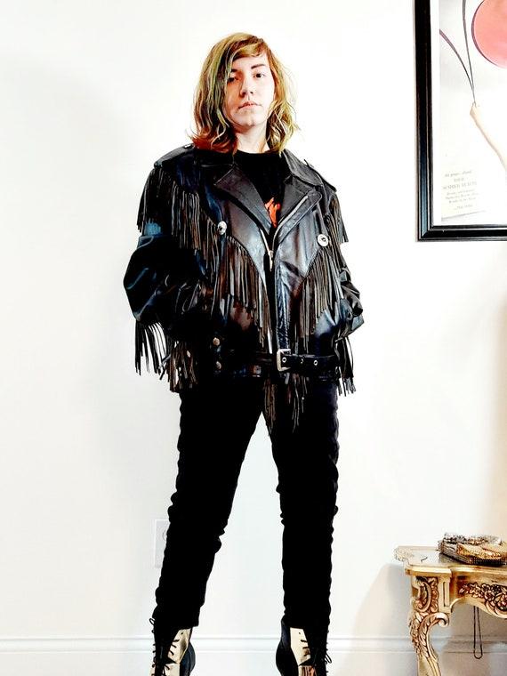 vintage Fringe leather jacket / vintage fringe ja… - image 3