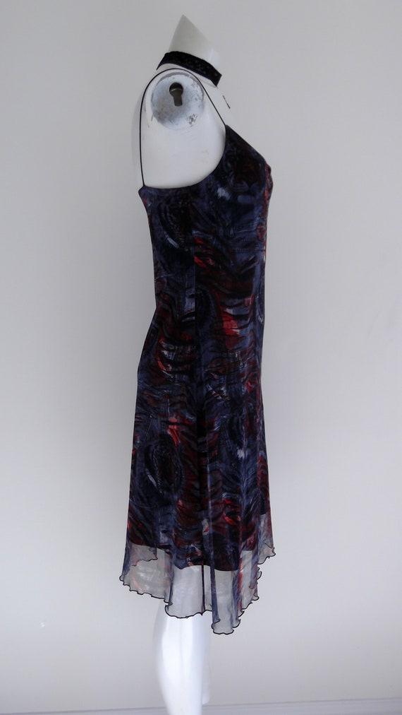 vintage 90s Tiger slip dress / 90s Fishnet mesh D… - image 5