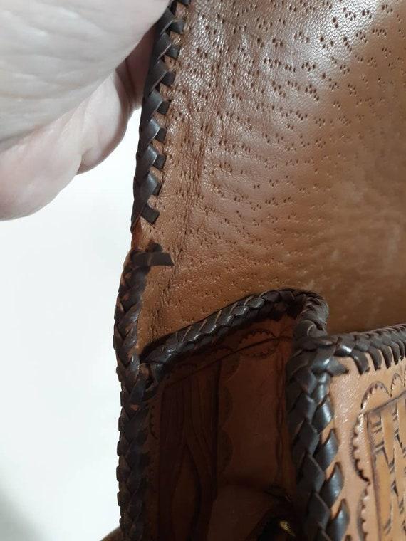 Vintage 60s 70s tooled leather purse / Vintage 70… - image 6
