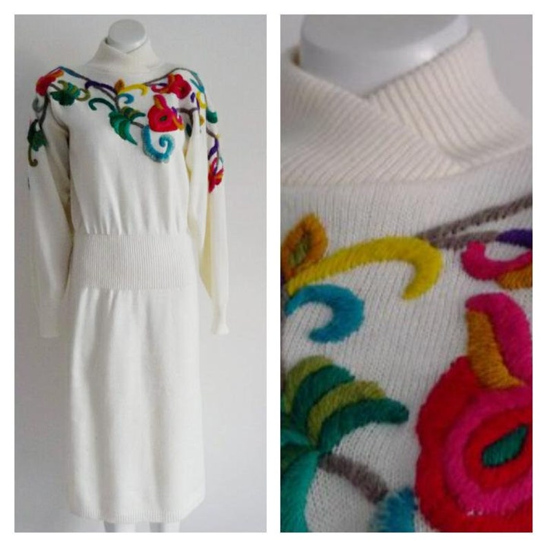 ce43e7ff1fb Cozy vintage sweater dress   80s embroidered flower sweater