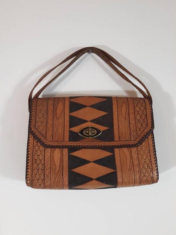 Vintage 70s tooled leather purse / Vintage 70s pur