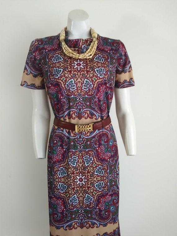Vintage 70s dress / vintage 70s paisley dress / 70