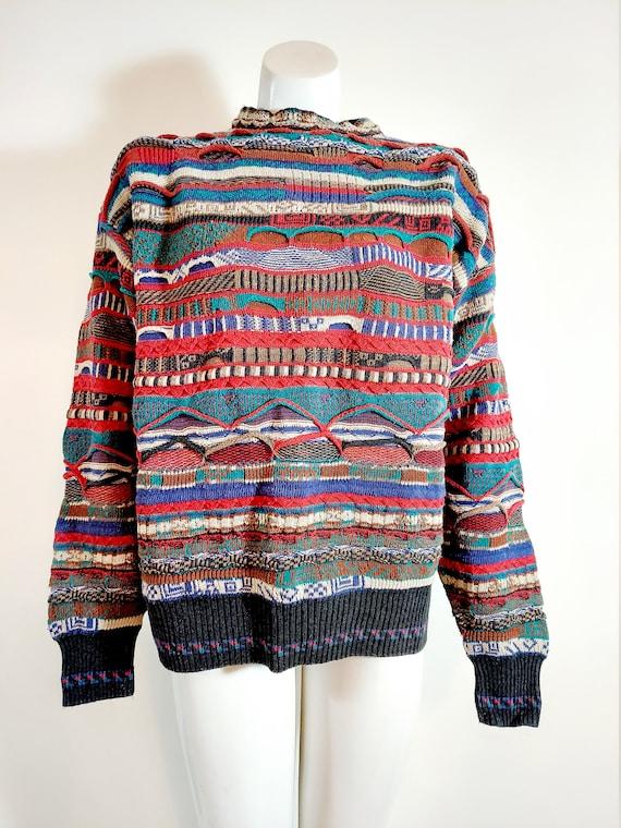 Vintage 90s multi color pattern sweater / Coogi Sw