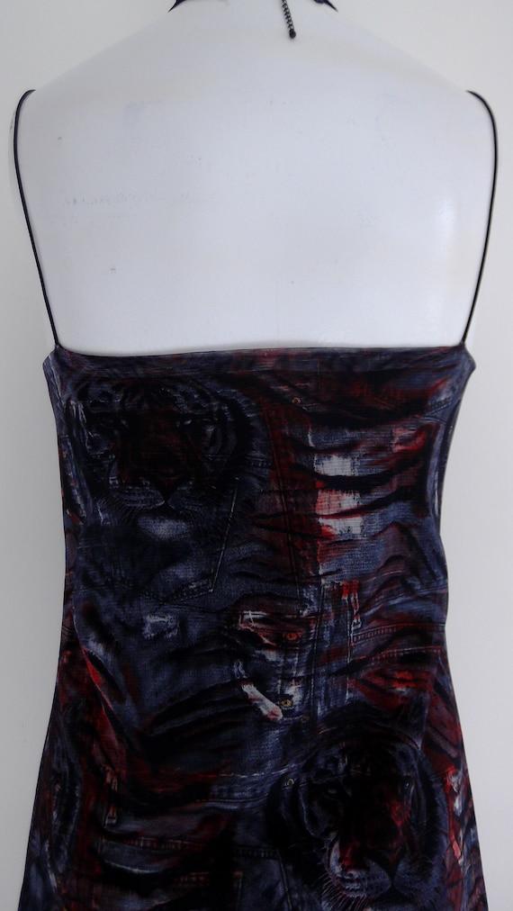 vintage 90s Tiger slip dress / 90s Fishnet mesh D… - image 7