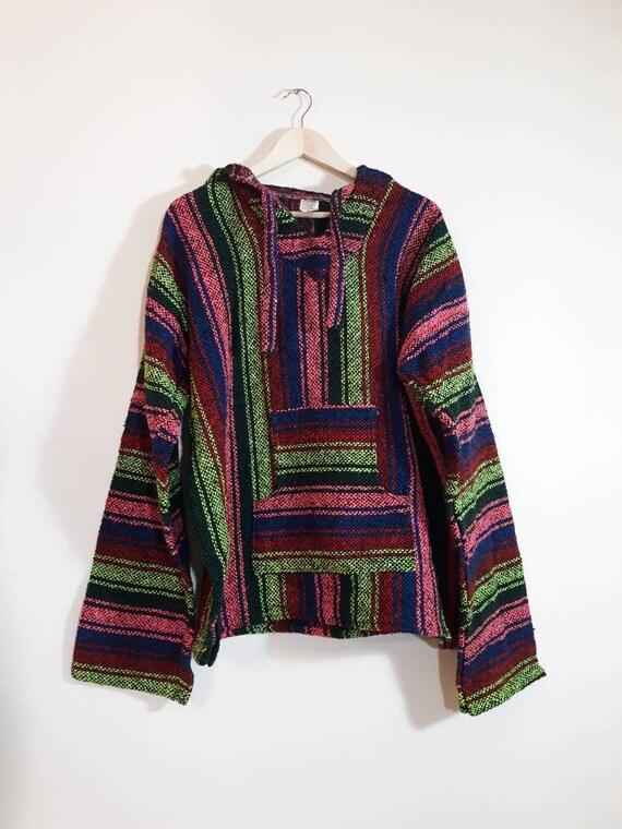 vintage 90s NEON Baja Hoodie / South Western Woven