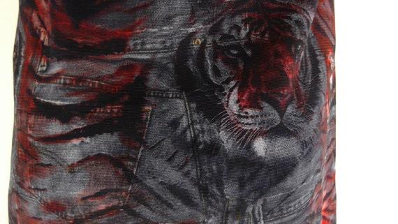 vintage 90s Tiger slip dress / 90s Fishnet mesh D… - image 4