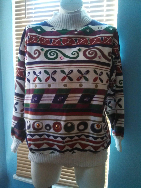 80 s sueur collante Noël 80 chemise / 80 Noël s parée Shirt / sweat Vintage / carnaval de la mode 8b71f9