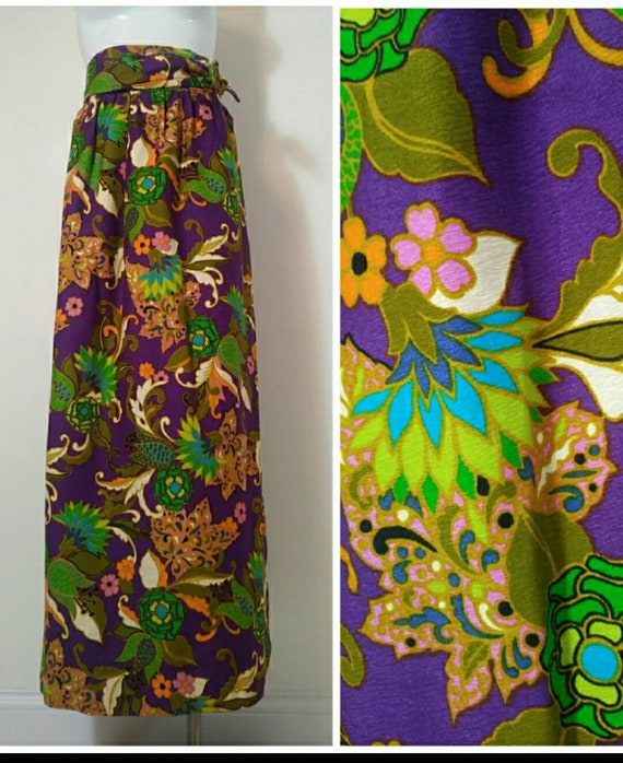Vintage 1970s sparkly lurex psychedelic maxi skirt purple geometric shapes