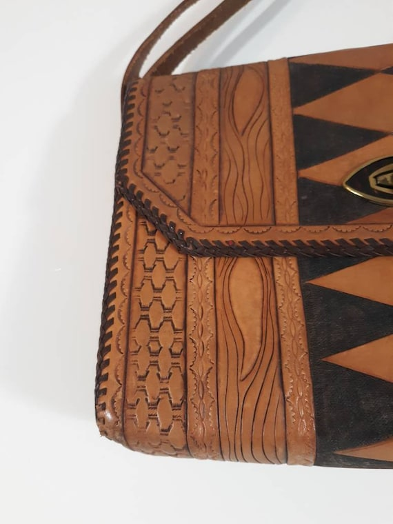 Vintage 60s 70s tooled leather purse / Vintage 70… - image 2