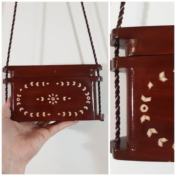 Vintage 70s wood box purse / Vintage 70s purse / B