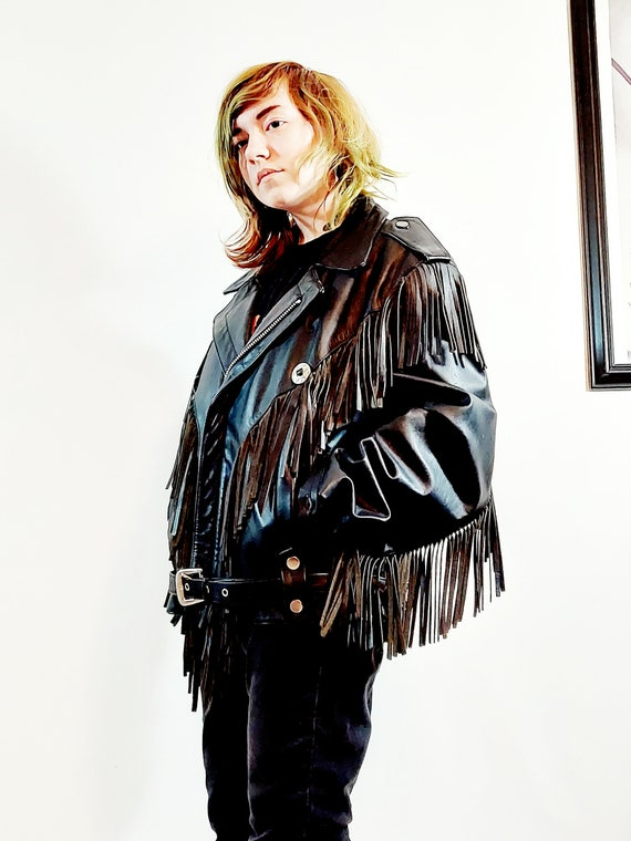 vintage Fringe leather jacket / vintage fringe ja… - image 2