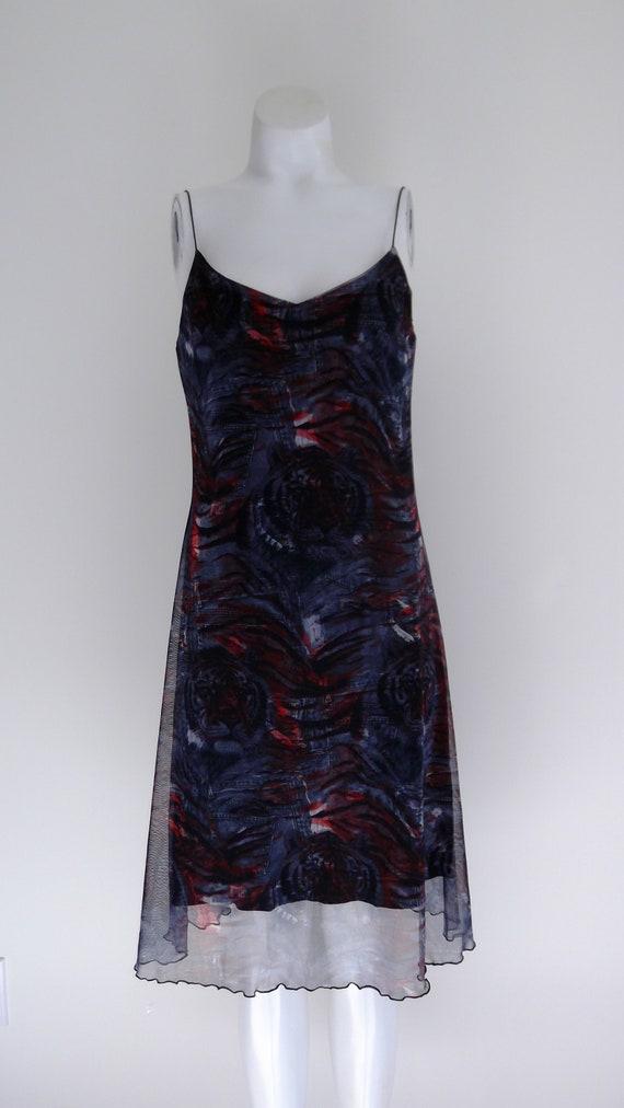 90s Tiger slip dress / 90s Fishnet mesh Dress / Ti