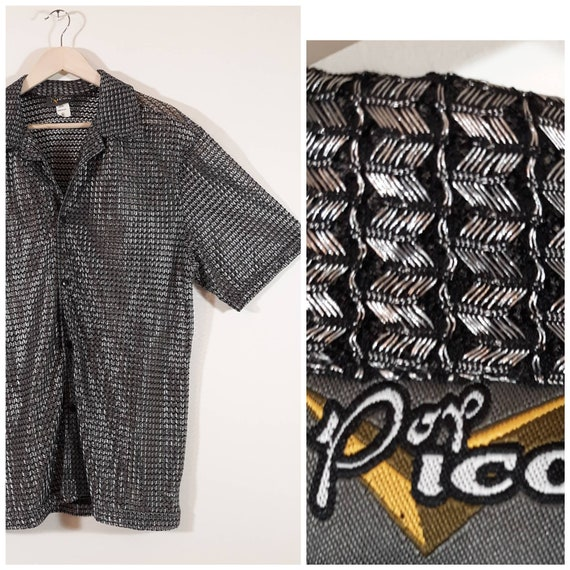 90s silver mesh sheer mens shirt / Club Rave Wear