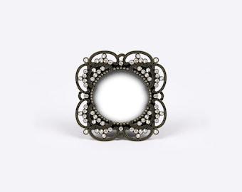 antique black frame. round black photo frame, metal picture glam crystals antique  wedding, victorian baptism, shabby chic cottage, english regency antique black frame o