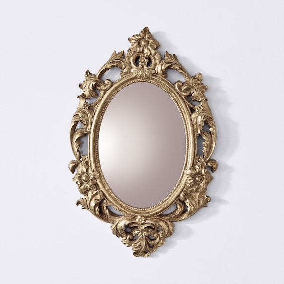Gold Ornate Mirror Gold Baroque Mirror Gold Oval Framed Etsy