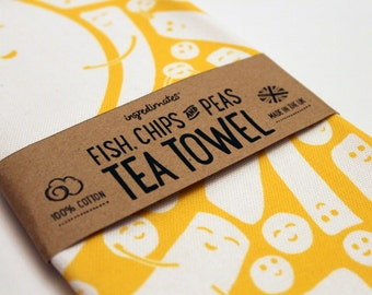 Fish, Chips & Peas tea towel – yellow and white