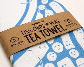 Fish, Chips & Peas – blue tea towel