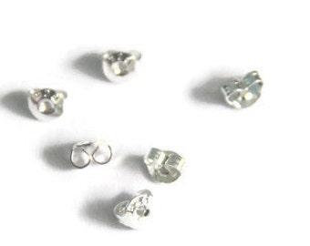 10 pairs sterling silver earring back, Sterling Silver Butterfly back stoppers, Earrings Jewelry Findings, S925 Ear Stud Ends