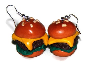 Cheeseburger earrings, handmade cheeseburger earrings, realistic food, miniature food jewelry