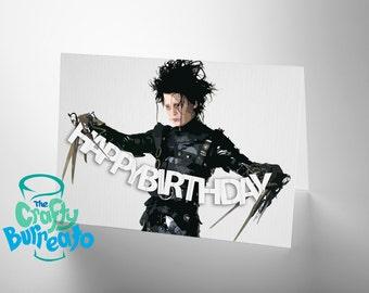 Edward says Happy Birthday - Edward Scissorhands Tim Burton inspired birthday greetings card