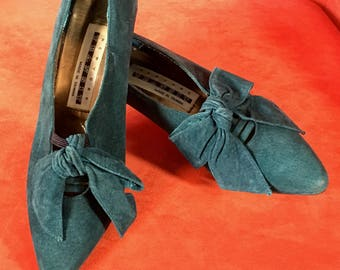 1980's Teal Suede Pumps with Bow size 6.5 SALE