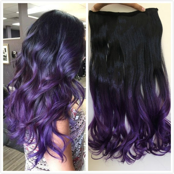 One Piece Dip Dye Clip In Hair Extensions Ombre Natural Black Etsy