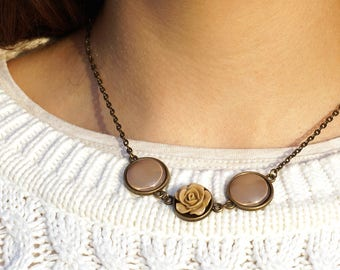 Tan Rose Necklace Light Brown Necklace Nude Necklace Beige Bridesmaid boho necklace Boho jewelry for her Unique necklaces for women gifts