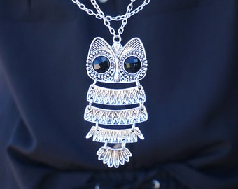 Big Owl Necklace for women Owl Lover Gift Owl Necklaces Owl Accessories Cute Animal Necklace Cute Owl Pendant Owl Charm Silver Owl Necklaces