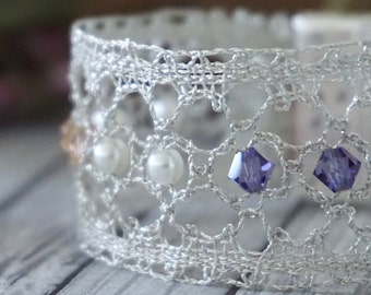 Pearl Wrist Cuff Swarovski Bracelet Lace Cuff Silver Bridal Bracelet Lace Bridal Cuff Silver Lace Jewelry Lace Bridal Bracelet Lace Bracelet