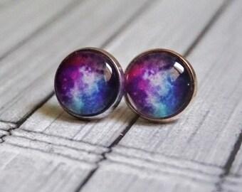 Blue Galaxy Earring Studs Nebula Stud Earrings Galaxy Jewelry Gift Astronomy Earrings Astronomy Gifts Her Universe Studs Celestial Earrings
