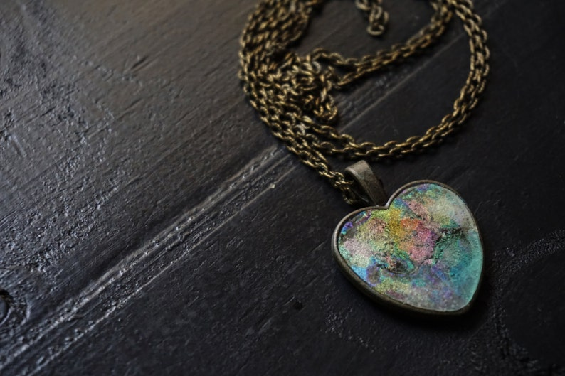 Angel Aura Heart Pendant Holographic Necklace Rave Necklace Etsy
