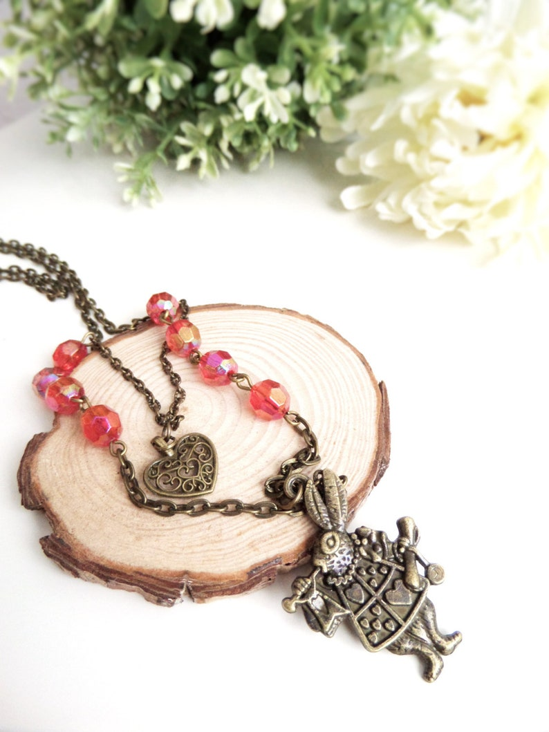 Alice In Wonderland Necklace White Rabbit Pendant Necklace Easter gifts for girls Bunny Jewelry Fairytale Gift Idea Long Steampunk Necklace