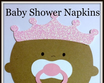 African American Baby Girl Crown Princess Baby Shower Napkins-Baby Shower Decorations- Baby Shower Favor.