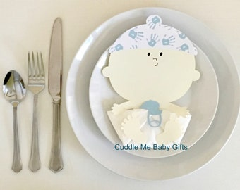 Baby Hands Baby Shower Napkins-Baby Boy Shower Decorations.