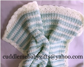 Baby Shower-Handmade Crochet Baby Blanket-Baby Mint Green and White Baby Afghan-Baby Shower Gift-Neutral Gender Crochet Baby Blanket-Boy Gir