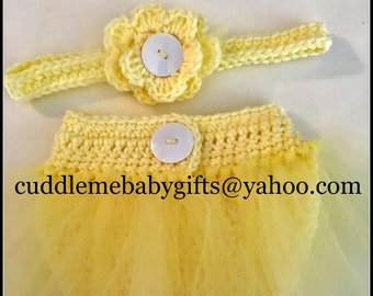 Ballerina Crochet Headband and Diaper Cover Photo Prop-Baby Girl Coming Home Outfit-You are my sunshine Tutu cover.
