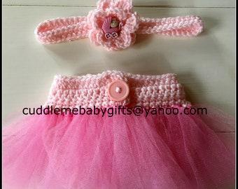 Baby Girl Crochet Headband and Diaper Cover-Ballerina Diaper Cover & Headband-Crochet Tutu Photo Prop-Baby Girl Tutu set Ballerina set Gift.