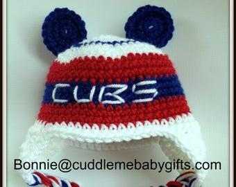 Chicago Baby Cubs Crochet Baby Hat Photo Prop-Baby Shower Gift-Crochet Chicago Baseball Hat-Baby Shower Gift-Bear Hat Photo Prop.