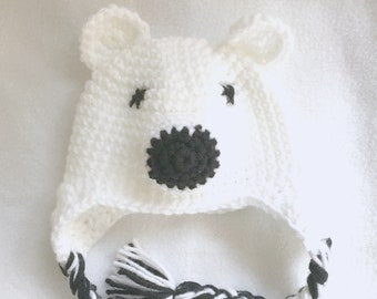 Crochet Polar Bear Newborn Baby Hat & Photo Prop.