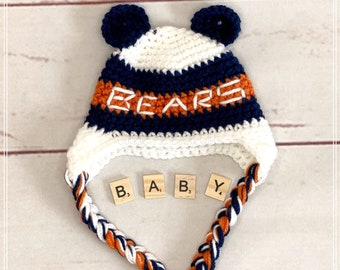 Chicago Bears Football Hat, Crochet Baby Hat, Baby Shower Gift, Baby Photo Prop, Baby Hat, Football Hat, Winter Hat, Football Baby Prop.