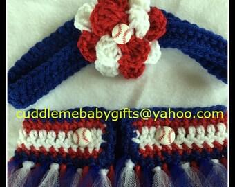 Cubs baby girl headband and Diaper Cover-Ballerina Crochet Tutu Photo Prop-Baby Shower Gift.