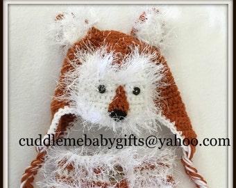 Baby Fox Crochet Hat & Diaper Cover Photo Prop-Woodland Animal Baby Hat and Diaper Cover-Baby Shower Gift.
