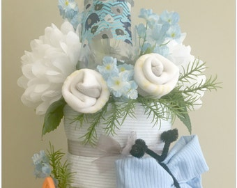 Baby Shower Diaper Cake-Baby Shower Decorations-Baby Shower Gift-Boy Baby Gift-Blue Diaper Cake-Baby Boy-Baby Shower Centerpiece-Diaper Cake