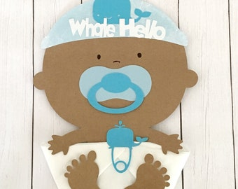 Whale African American Whale Hello Baby Shower Napkins-Baby Shower Decorations.
