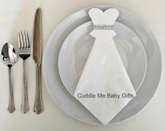 Wedding Dress Bridal Shower Bling Decorative Napkins-Bridal Shower Decorations-Table Decor.