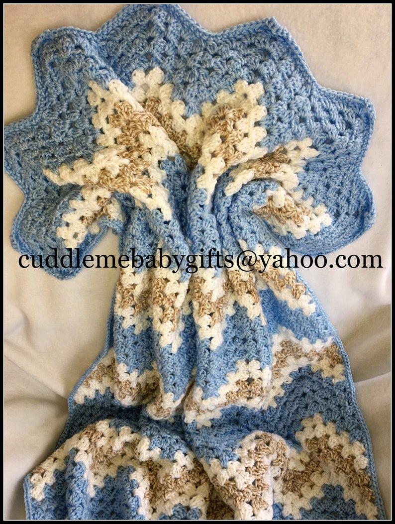 Crochet Baby Boy Blanket-Chevron Baby Afghan Baby Shower Gift. image 0