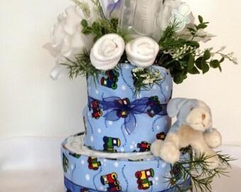 Baby Shower Diaper Cake for Boy-Baby Shower Diaper Cake-Baby Shower Gift-Baby Gift-Baby Shower Decorations-Baby Shower-Baby Boy-Diaper Cake