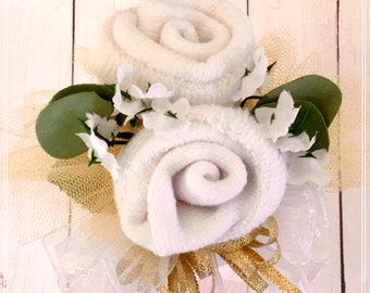 Baby Shower Corsage for Mommy to be with Lace Socks-Infant Baby Sock Corsage.